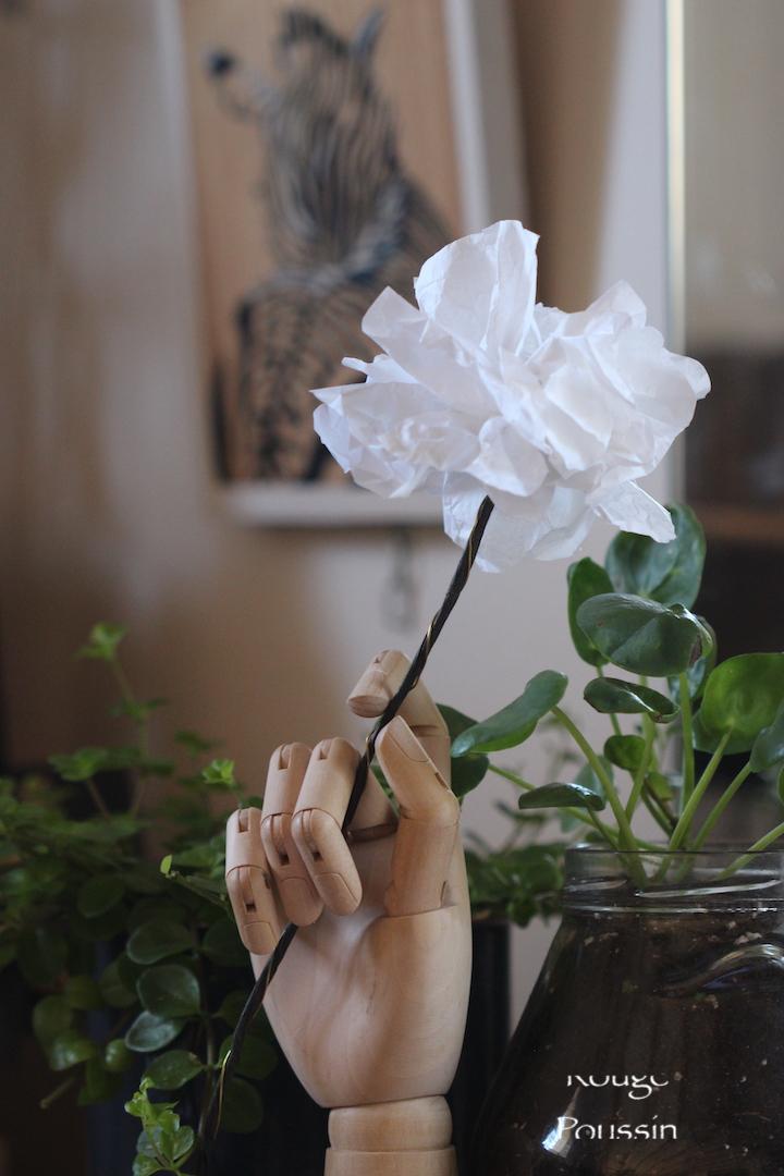 Fleur blanche en papier de soie