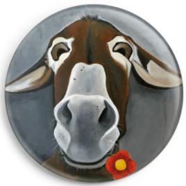 Le magnet de Fleurâne représente le portrait d'une ânesse catalane. Reproduction du tableau réalisé à l'acrylique par l'artiste peintre Carole Alexandre.