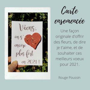 Carte de voeux 2021 avec un coeur ensemencé. Une façon originale d'offrir des fleurs, de dire je t'aime et de souhaiter ses meilleurs voeux pour la nouvelle année.