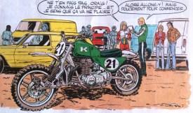 La précision du dessin est toujours impressionnante. Ici on distingue bien un 4-cylindres Kawasaki.