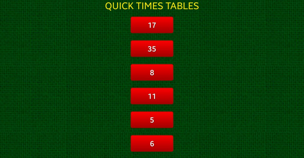 16 Quick Times Tables Menu