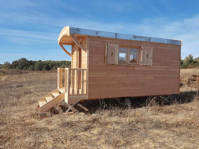 intallation roulotte bois sur terrain