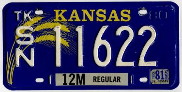 Image result for kansas license plate, wheat plate, 1981