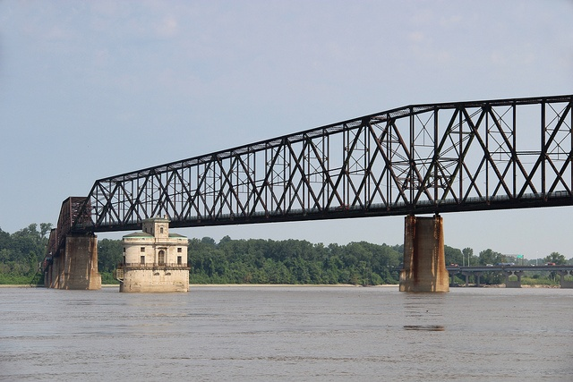 A glimpse at a water intake tower at the Old Chain of Rocks Bridge