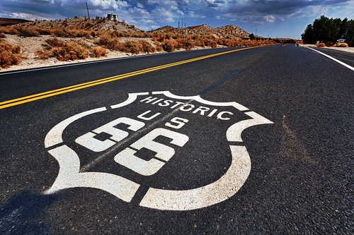 Route 66 shield in California