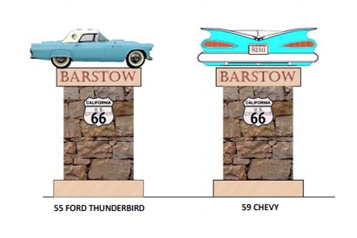 Barstow Route 66 signs 2