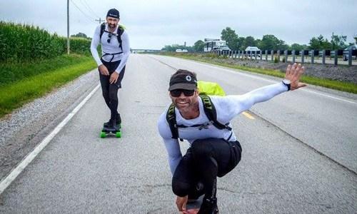 Man skateboarding Route 66 for foundation