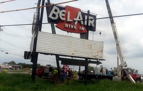 Sign Removed For Long Closed Bel Air Drive In Theater In Mitchell