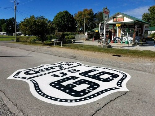 Big Route 66 shield added in front of Gay Parita Station