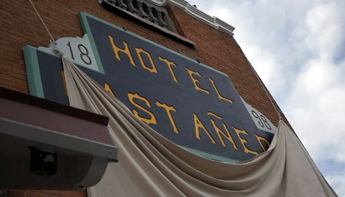Replica of Hotel Castaneda sign unveiled