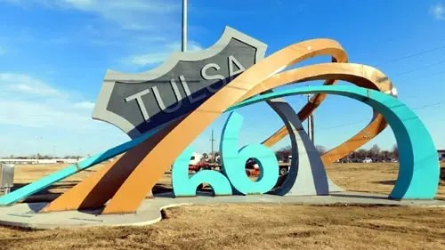 Officials dedicate Route 66 Rising sculpture in Tulsa
