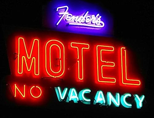 Sign at Fender's River Road Resort shines again