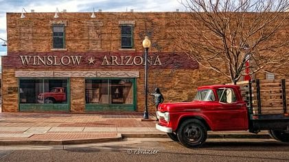 Arizona Route 66 association gives $10,000 to finish the restoration of Standin' on a Corner wall