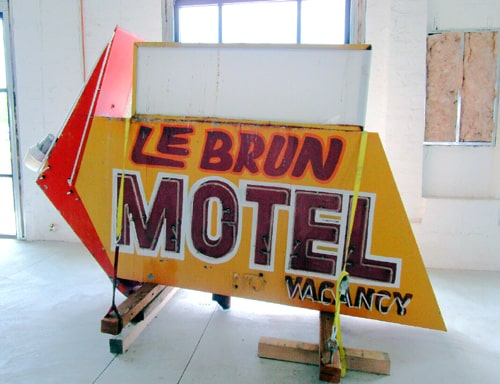 Route 66 enthusiast buys Le Brun Motel neon sign from Needles