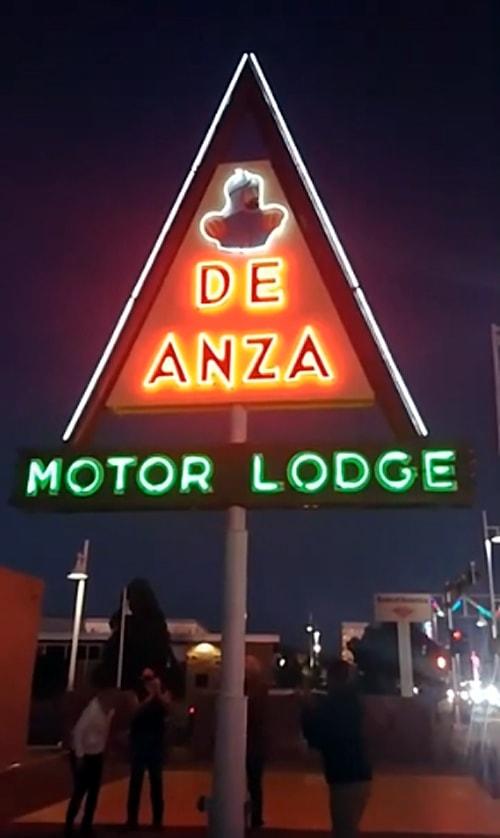Neon sign relighted at De Anza Motor Lodge in Albuquerque