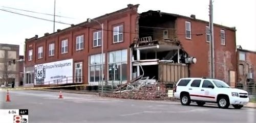 Back part of a historic building on Route 66 in Bristow collapses