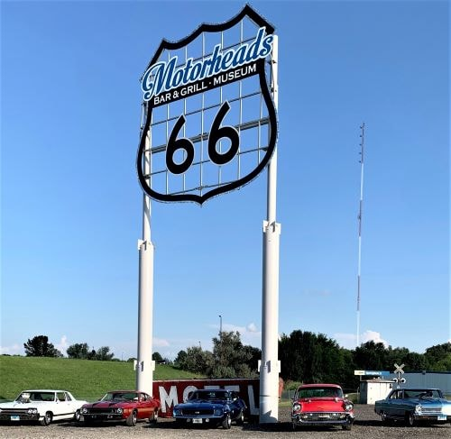 Route 66 MotorHeads erects its 'world's largest Route 66 emblem'