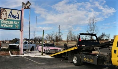 Billboard Museum picks up pink Cadillac from closed Ann's Chicken Fry House