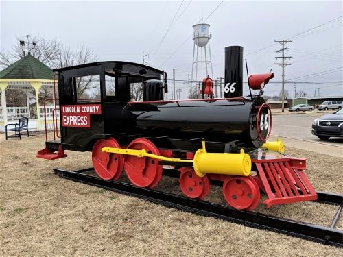 Restored Lincoln County Express child-size train ends up near Rock Cafe in Stroud
