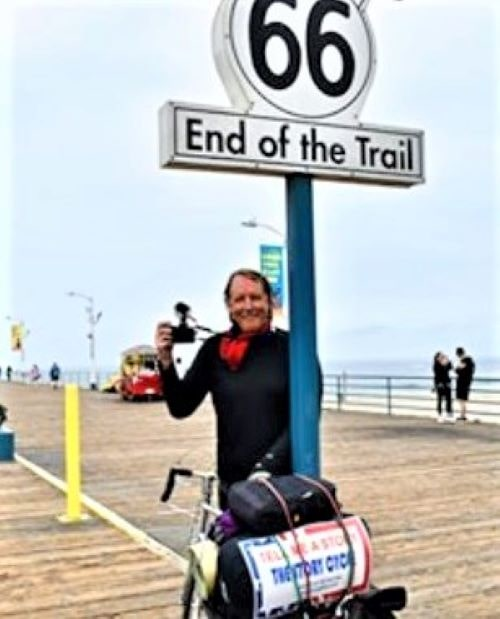 Veteran journalist bicycles length of Route 66 during pandemic for a future book