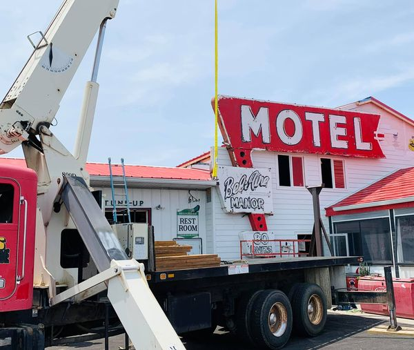 Bel-Aire Motel sign in ends up at Route 66 Motorheads Bar in Springfield