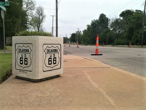 Tulsa Route 66 Commission recommends moving concrete planters to the east side