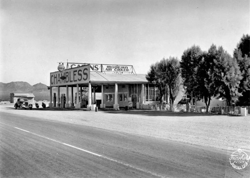 Chambless Service Station, Cadiz, CA. Courtesy of Pomona Public Library, Online Archive of California.