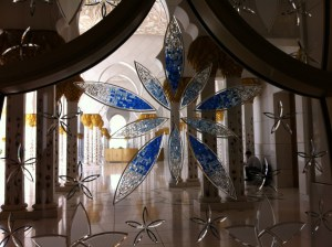A window in Sheikh Zayed Grand Mosque