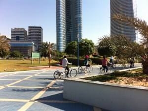 Cyclists on the Corniche, Abu Dhabi