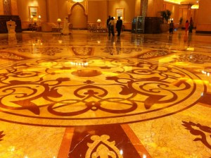 The hall floor of Emirates Palace Hotel, Abu Dhabi