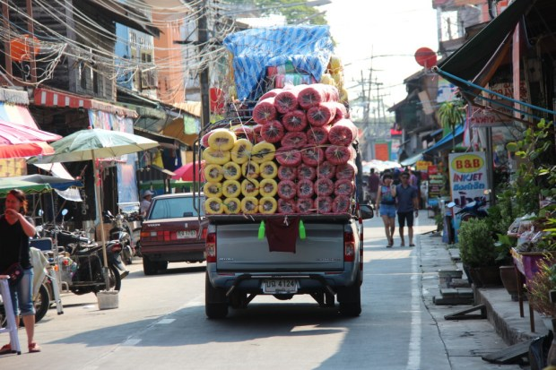 Typical traffic of Ban Phe, Thailand