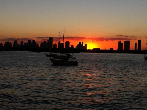 Miami Beach lagoon side, downtown Miami skyline