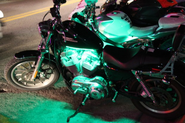 Harley Davidson parked on Ocean Drive, Miami