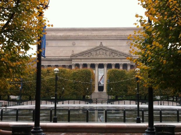 National Archives from Sculpture Garden, National Mall walking itinerary