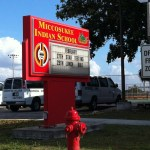 School sign, Miccosukee settlement, the Everglades