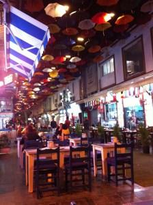 A restaurant street