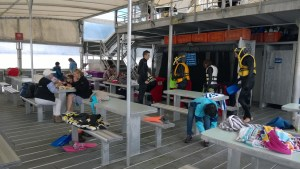 Changing clothes at Agincourt Reef pontoon