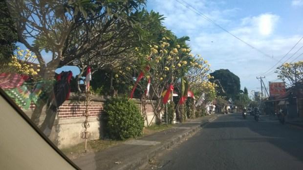 A typical Bali village lane, drive in Central Bali
