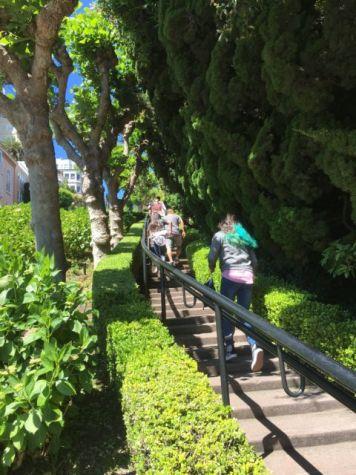 Walking on Lombard Street San Francisco