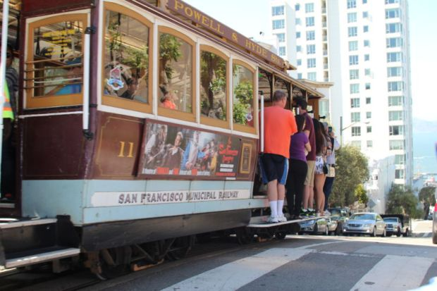 San Francisco cable car and tourists