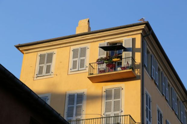 A sunny apartment balcony in the Old Town of Nice