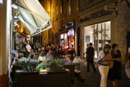 Restaurant street in Nice Old Town