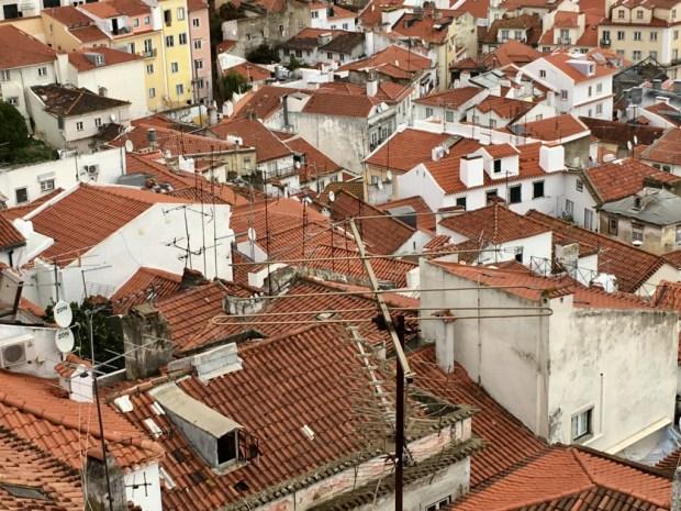 Touring Lisbon on tram 28: Alfama roofs