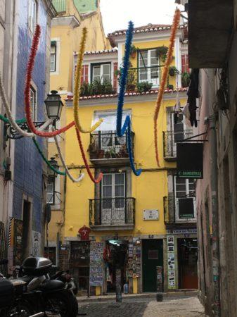 Typical Bairro Alto street decoration