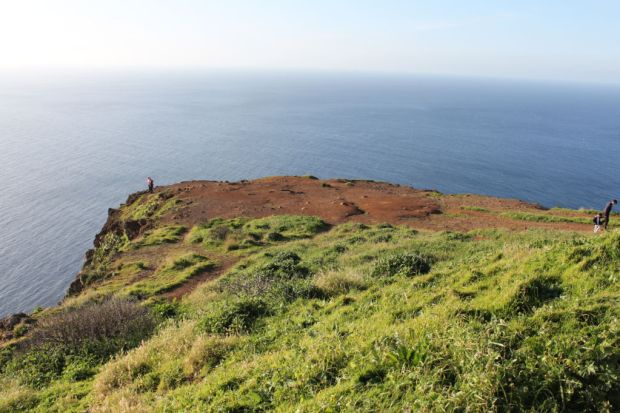 Walking on Ponta do Pargo cliffs Western Madeira