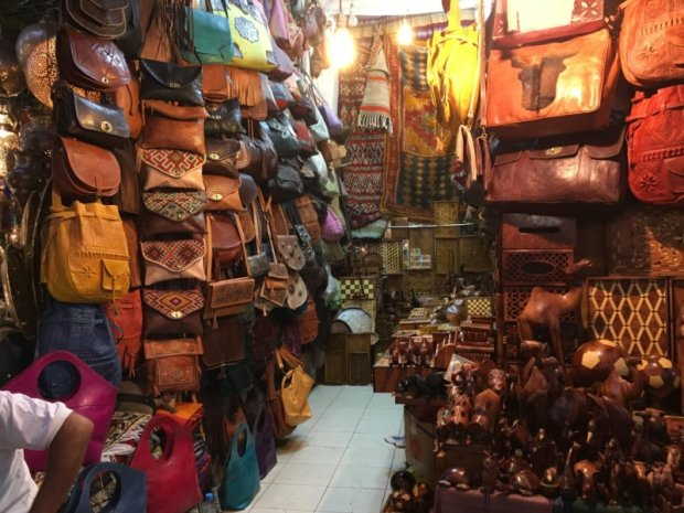 Marrakech souk: leather bags