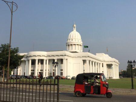 Colombo Town Hall and tuk tuk