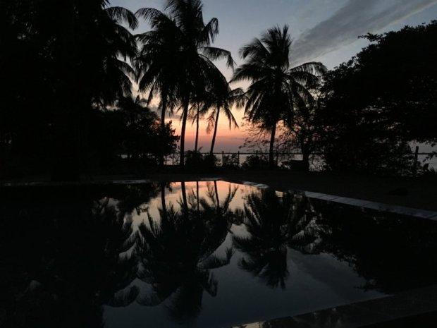 The Villa Kalpitiya pool after sunset