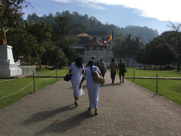 Sri Lankan women going to the Temple of the Tooth