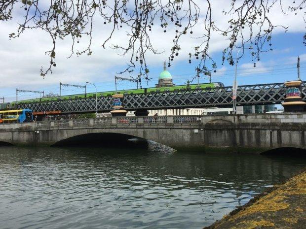 Self-guided Dublin walking tour, a Liffey railway bridge